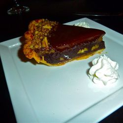 Mississippi mud pie.  They don't make these in house. It tasted like a soft Snickers bar.