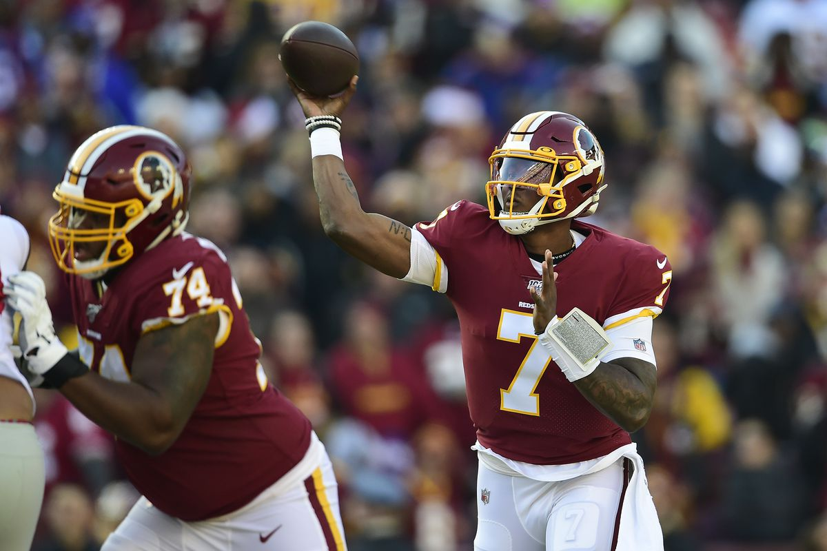 Washington quarterback Dwayne Haskins throws a pass in the first half against the New York Giants at FedExField on December 22, 2019 in Landover, Maryland.