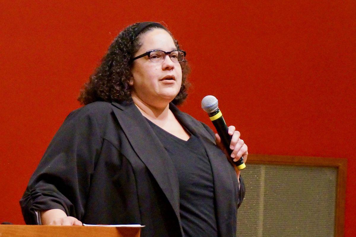 Christine Rembert at the Teacher Story Slam, April 19, 2018.