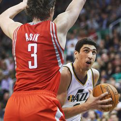 Utah Jazz's center Enes Kanter (0) tries to get around Houston's Omer Asik as the Jazz and the Rockets play Saturday, Nov. 2, 2013 in EnergySolutions arena. Jazz lost 104-93.