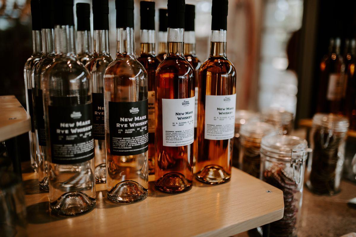 Several bottles of whiskey