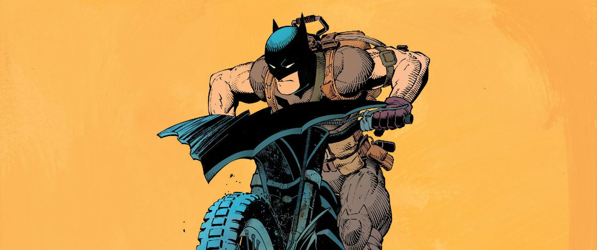 Batman rides a motorbike on, wearing a sleeveless version of his costume, in Batman #31, DC Comics (2014).