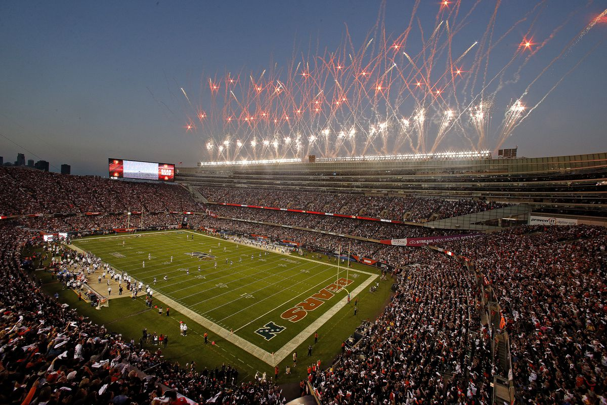 Fireworks display prior to the game between the Chicago Bears and the Green Bay Packers at Soldier Field