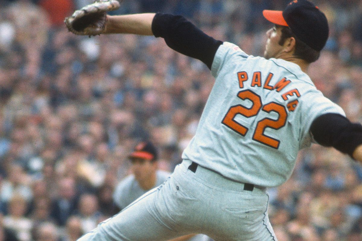 October 14, 1969: Jim Palmer #22 of the Baltimore Orioles pitches against the New York Mets during Game 3 of the 1969 World Series at Shea Stadium.