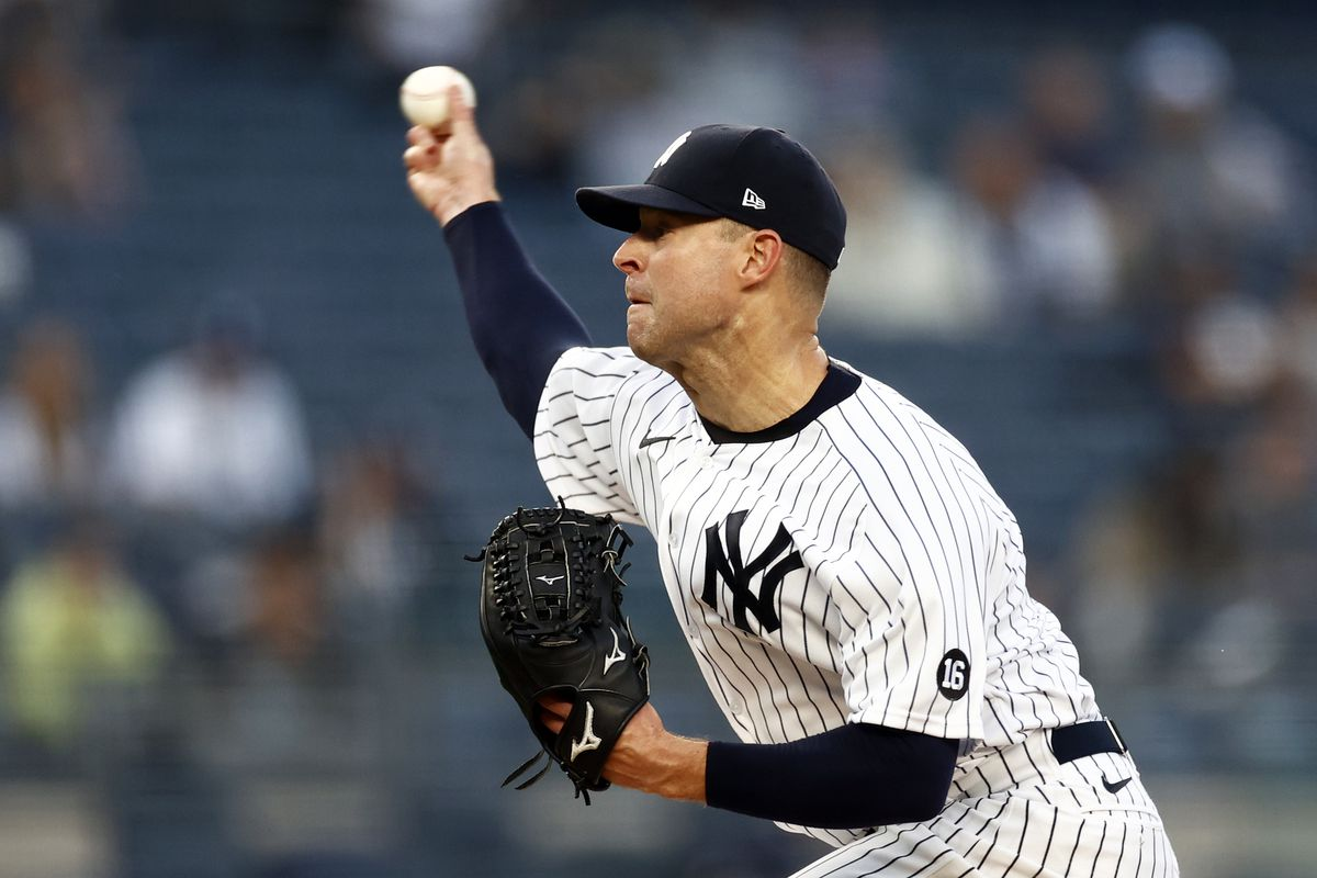 Corey Kluber of the New York Yankees pitches against the Toronto Blue Jays during the first inning at Yankee Stadium on May 25, 2021 in the Bronx borough of New York City.