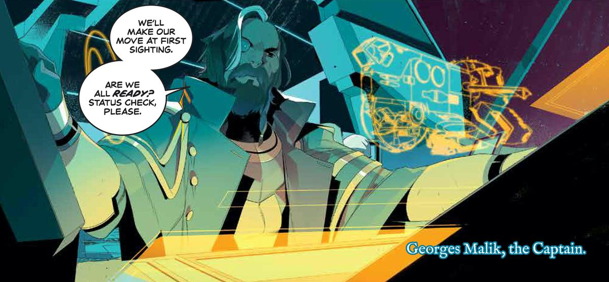 """""""We'll make our move at first sighting,"""" Captain Malik says over intercom to his crew, on a pastel blue and neon yellow ship display, in We Only Find Them When They're Dead #1, Boom Studios (2020)."""