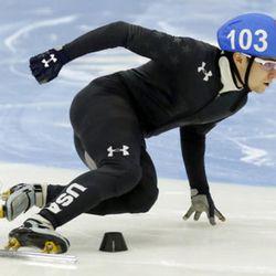 Ryan Pivirotto (103) competes in the men's 1000-meter during the U.S.Olympic short track speedskating trials Sunday, Dec. 17, 2017, in Kearns, Utah. (AP Photo/Rick Bowmer)