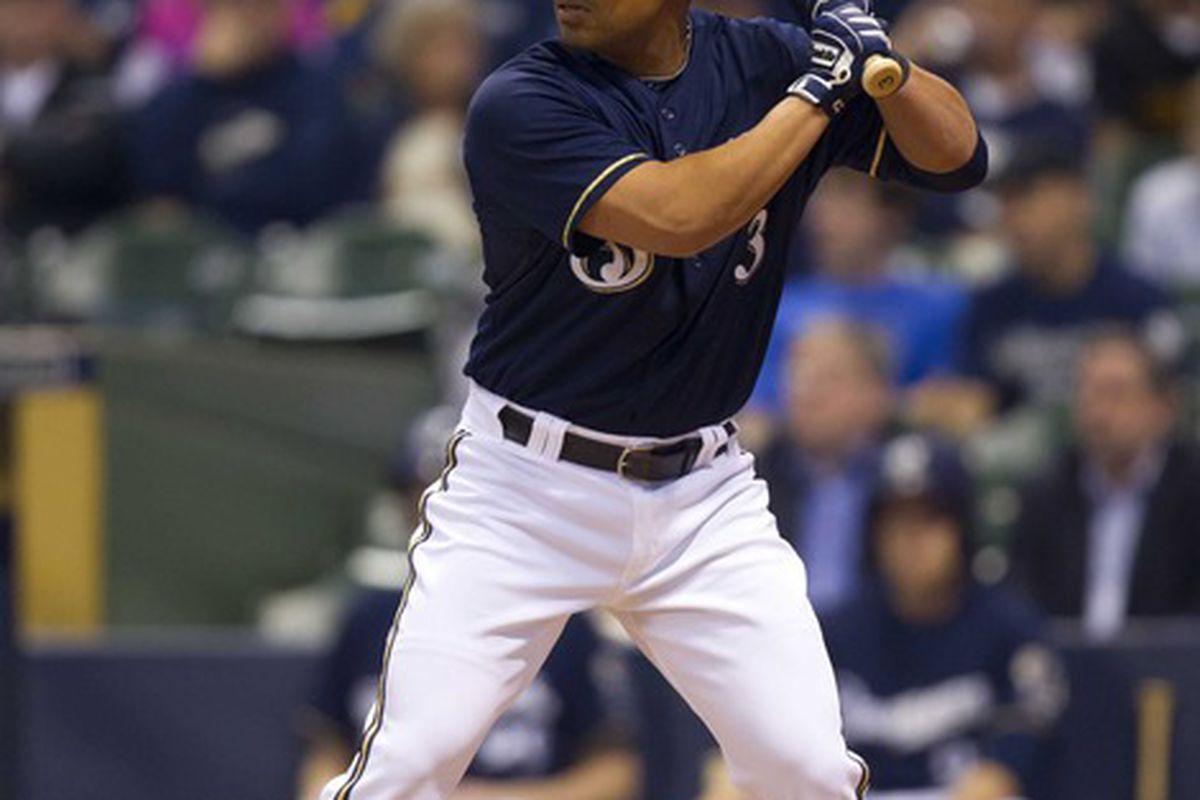 May 7, 2012: Milwaukee, WI, USA;  Milwaukee Brewers shortstop Cesar Izturis (3) bats during the game against the Cincinnati Reds at Miller Park.