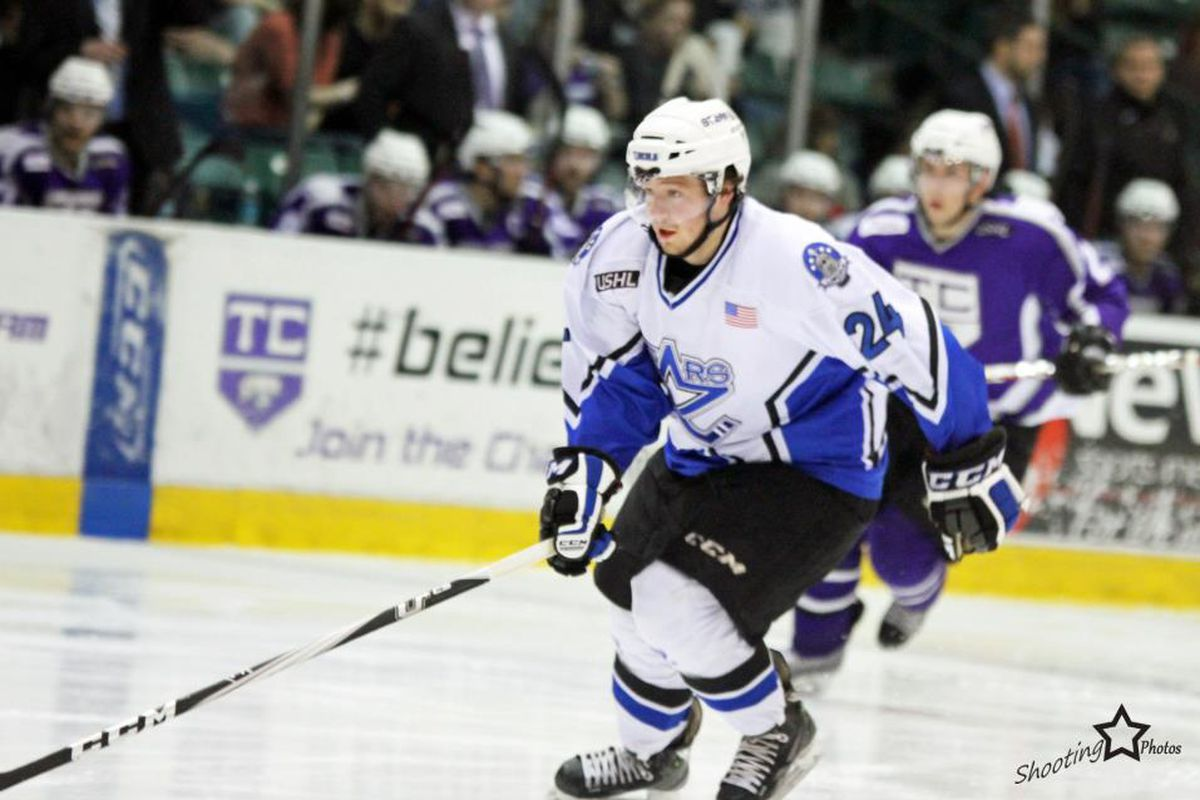 Eric Schurhamer, in action last season with the Lincoln Stars (USHL), scored his first collegiate goal on Saturday.