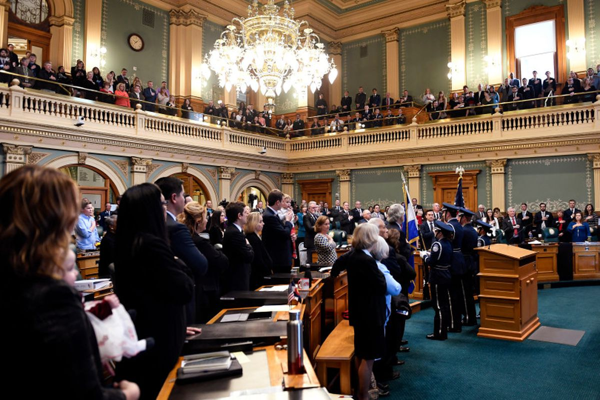 DENVER, CO - January 10: The Pledge of Allegiance in the House of Representatives on opening day of the second session of the 71st General Assembly at the Colorado State Capitol. January 10, 2018 in Denver, Colorado. (Photo by Joe Amon/The Denver Post)