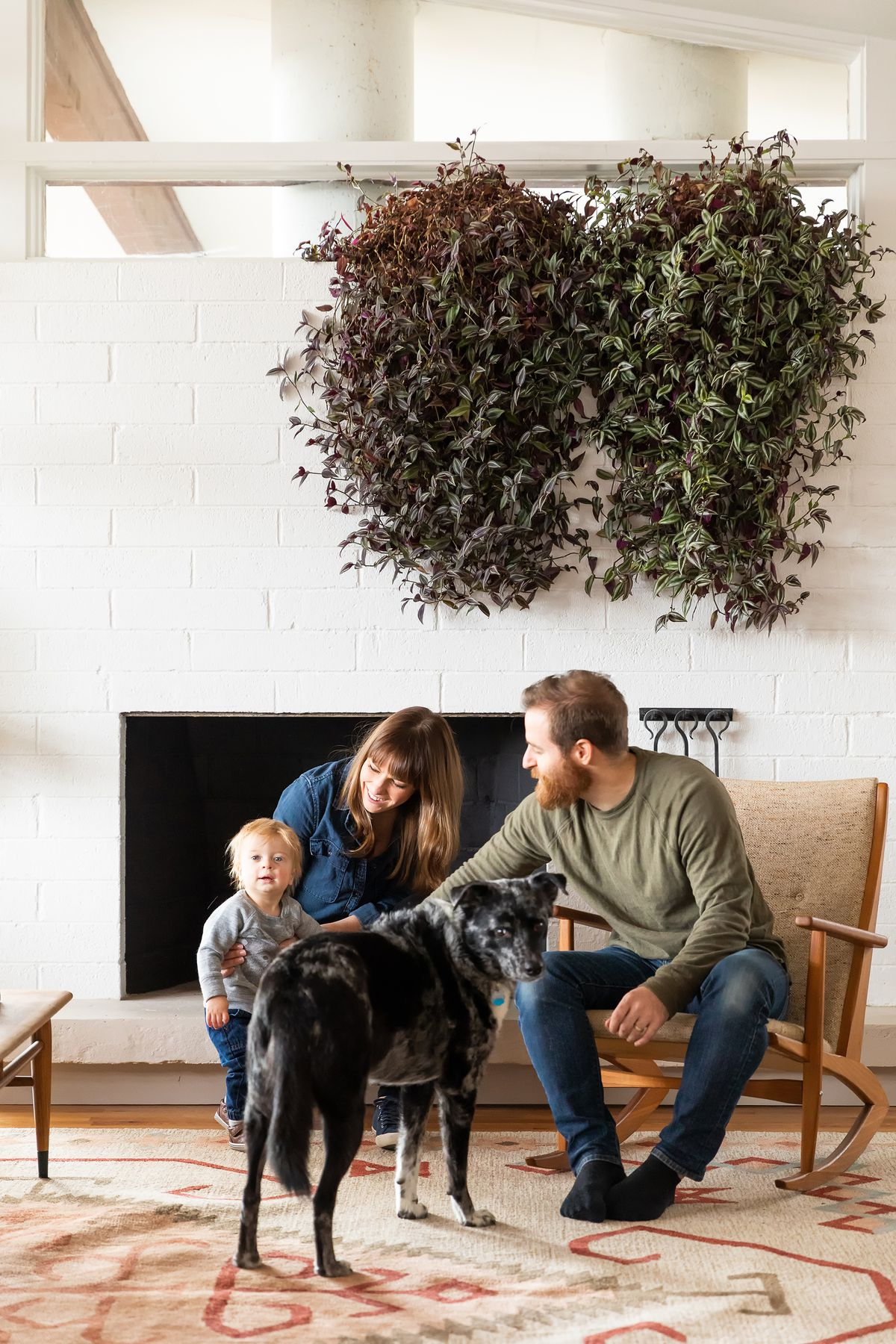 The homeowners, a man and a woman, sit on chairs in front of a fireplace and look towards a toddler. A large grey and black dog sits between them. There are hanging plants in planters hanging over the family.