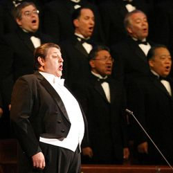 Stanford Olsen sings with the Mormon Tabernacle Choir during Golden Days, A Celebration of Life, in honor of President Thomas S. Monson's 85th birthday at the LDS Conference Center in Salt Lake City on Friday, Aug.  17, 2012.