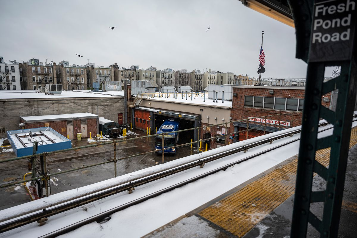 The Fresh Pond MTA bus depot in Queens, Feb. 19, 2021.