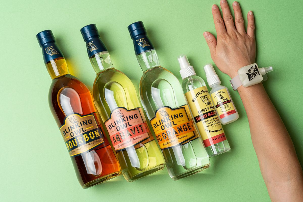 Blinking Owl bourbon, aquavit, orange vodka, sanitizers