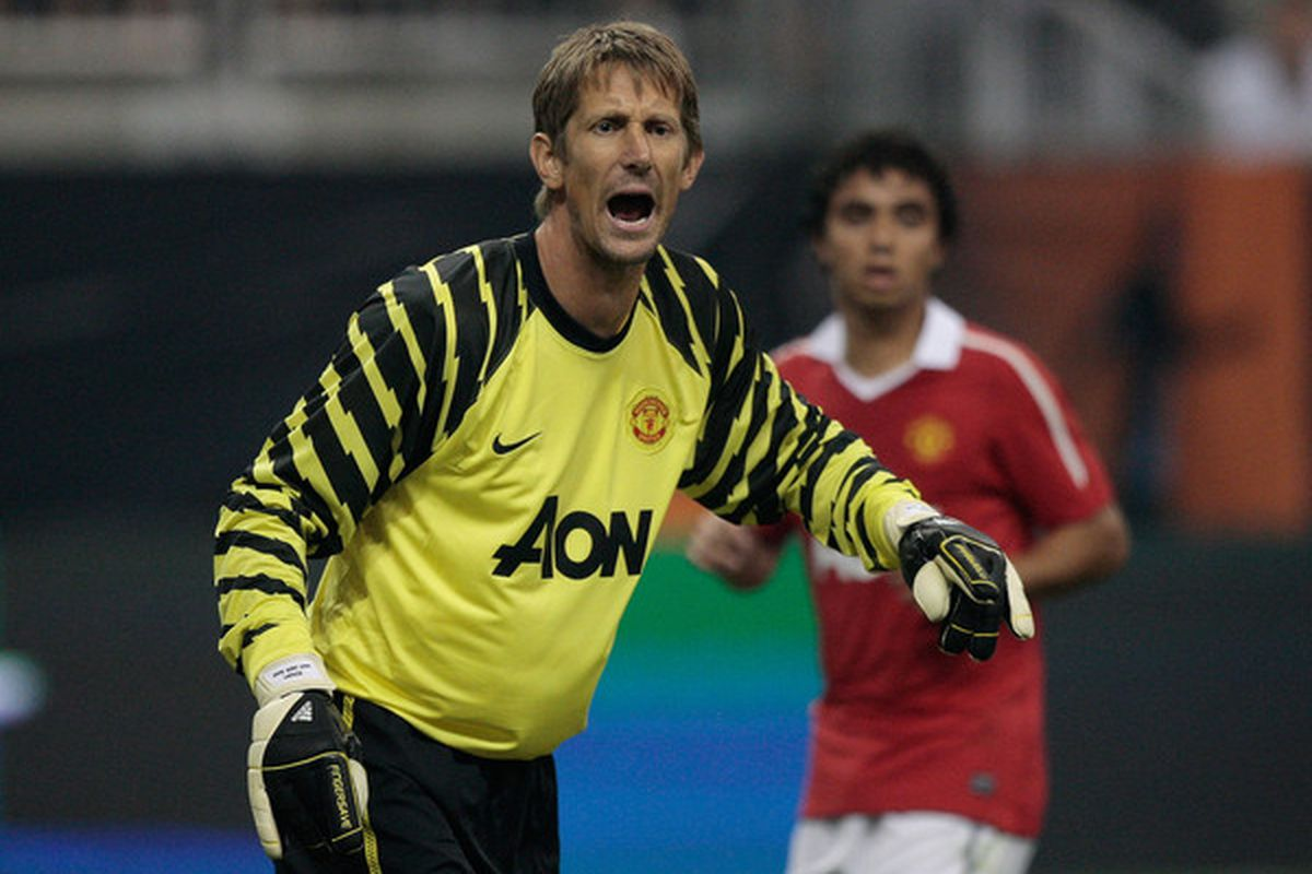 HOUSTON - JULY 28:  Edwin van der Sar #1 of Manchester United reacts to a play during the MLS All Star Game at Reliant Stadium on July 28 2010 in Houston Texas.  (Photo by Bob Levey/Getty Images)