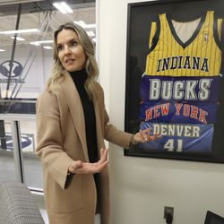 Lee Anne Pope, wife of BYU basketball coach Mark Pope, talks about her husband's NBA career at BYU in Provo on Feb 26, 2020.