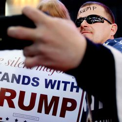 Jasen Tropf takes a selfie while waiting for Donald Trump to speak at the Infinity Event Center in Salt Lake City on Friday, March 18, 2016.