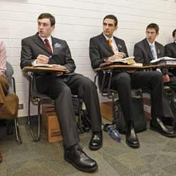 Sister Erica Glenn, left, and other missionaries take Russian language class at the Mormon Missionary Training Center in Provo, Utah Thursday January 31, 2008.