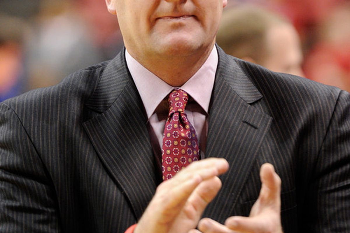 LAS VEGAS NV - FEBRUARY 02:  Head coach Jim Boylen of the Utah Utes claps before his team's game against the UNLV Rebels at the Thomas & Mack Center February 2 2011 in Las Vegas Nevada. UNLV won 67-54.  (Photo by Ethan Miller/Getty Images)