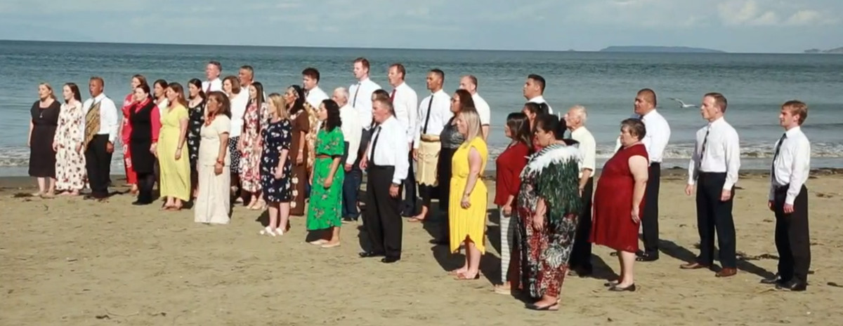 """A choir of Latter-day Saints in Auckland, New Zealand, records a performance of the beloved Church hymn """"We Thank Thee, O God, for a Prophet"""" in early 2020. The recording allowed Church choirs from six different continents to virtually join a prerecorded performance of The Tabernacle Choir at Temple Square during the Church's April 2020 general conference. The COVID-19 pandemic didn't allow choirs to sing live."""
