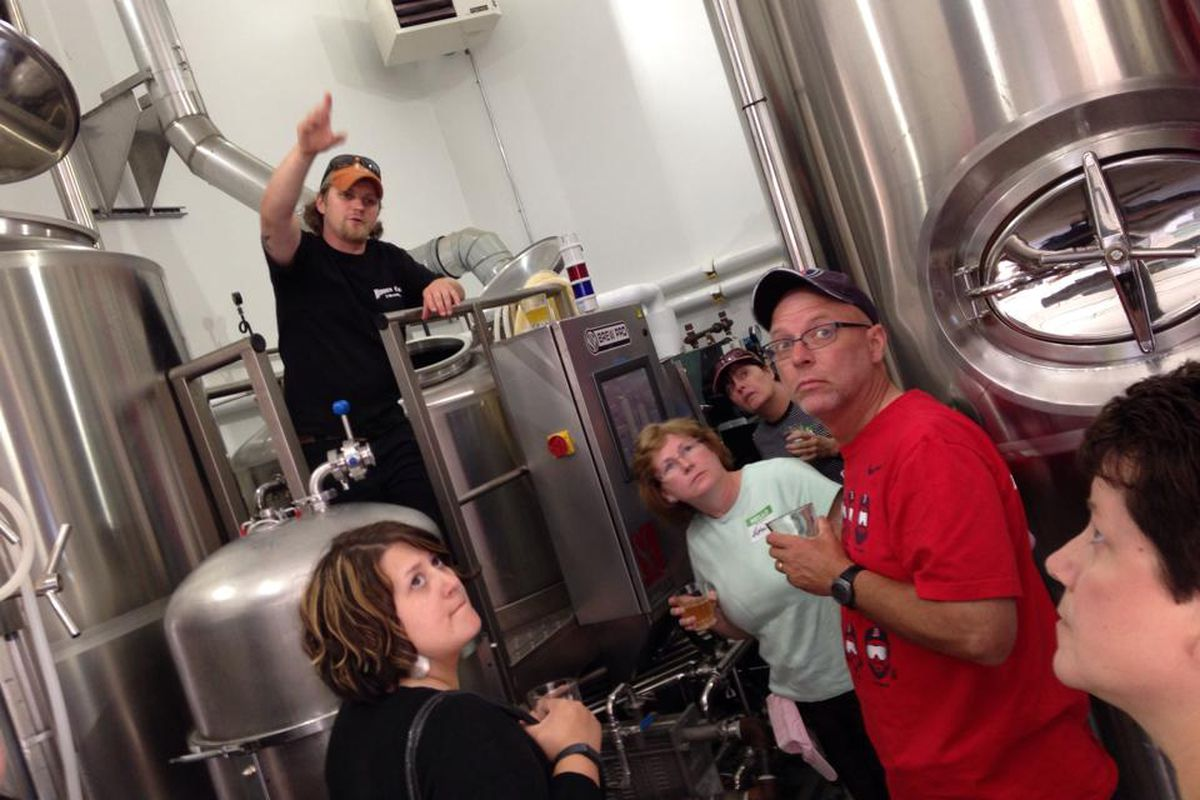 Gregg Spickler, former head brewer of Hidden Cove, gives a tour of the small brewery.