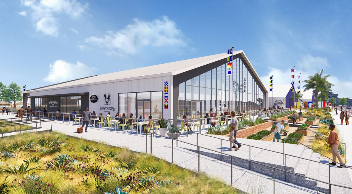 A rendering of a sunny sky with a glass-fronted warehouse and lots of people sitting outside.