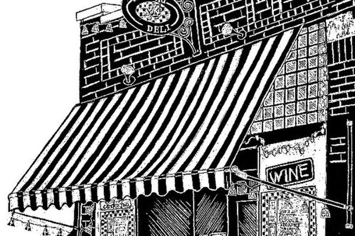 A drawing of the original West End Deli location.