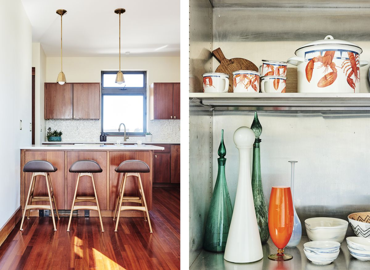 A midcentury-style light fixture with many pendants hangs in the hall; metallic wallpaper makes the bar area glamorous; vintage vases and cookware is in a metal medical cabinet; the kitchen gets a new look with a fresh backsplash, counter, and light fixtu