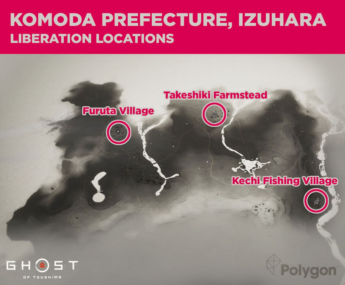 Komoda prefecture in Ghost of Tsushima and its areas that need to be liberated including: Furuta Village, Takeshiki Farmstead, and Kechi Fishing Village.