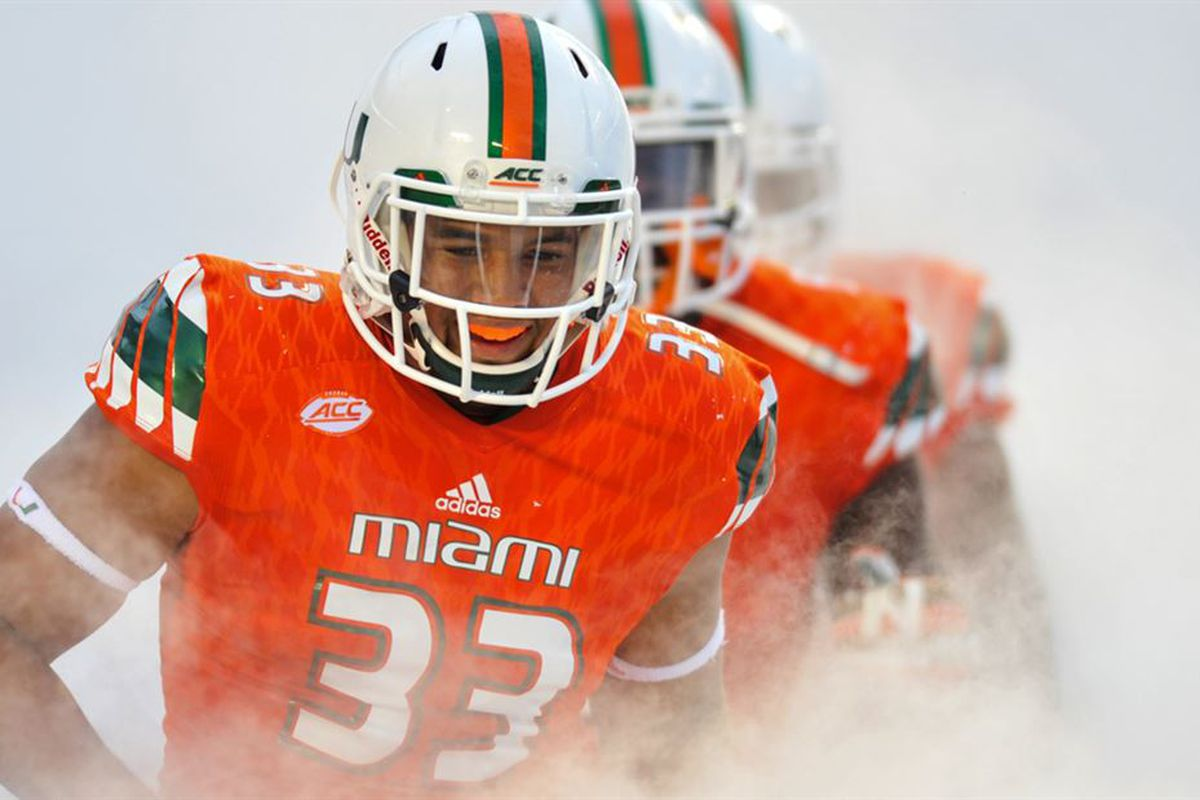 designer fashion 3c7d3 e30d3 Miami Hurricanes 2018 NFL Draft Profile: DE Trent Harris ...