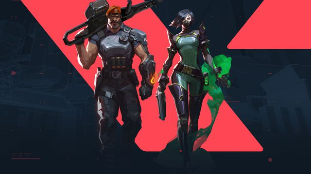 artwork of Viper and Brimstone from Valorant walking toward the camera with the game's logo in the background