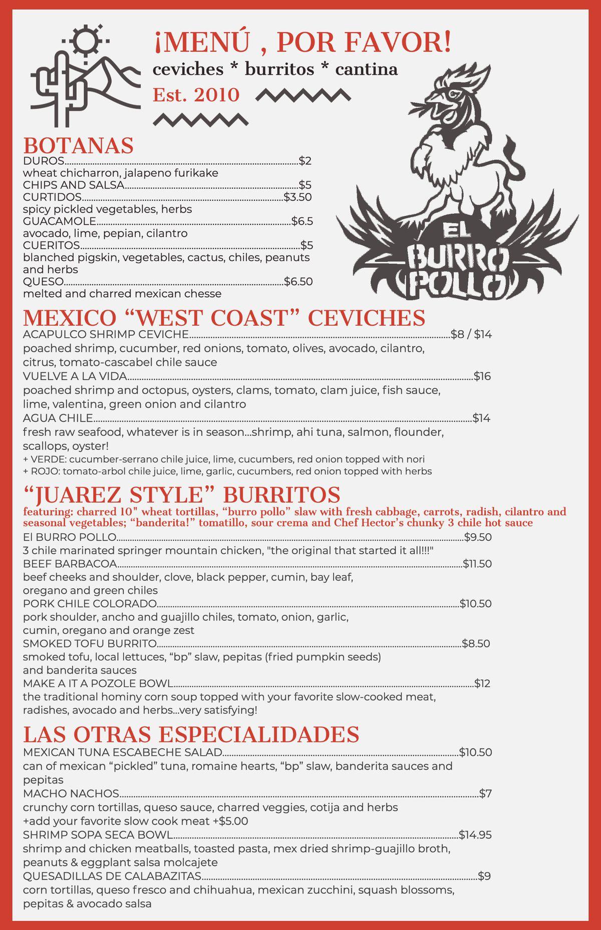 The menu for El Burro Pollo in Midtown Atlanta