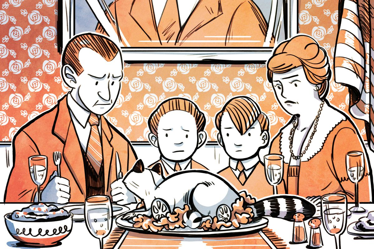 A family looking at a raccoon on their Thanksgiving table