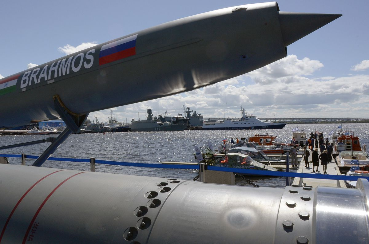 Russia shows off a cruise missile at the International Maritime Defense Show in St. Petersburg on June 28, 2017.