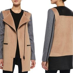 """""""Having great street style is easy when wearing this color-blocked coat by Walter Baker. The faux leather detail makes this edgy coat great for day or night."""" (<a href=""""http://www.cusp.com/Walter-Baker-Erica-Faux-Leather-Trimmed-Combo-Wool-Coat-Camel-Coat"""