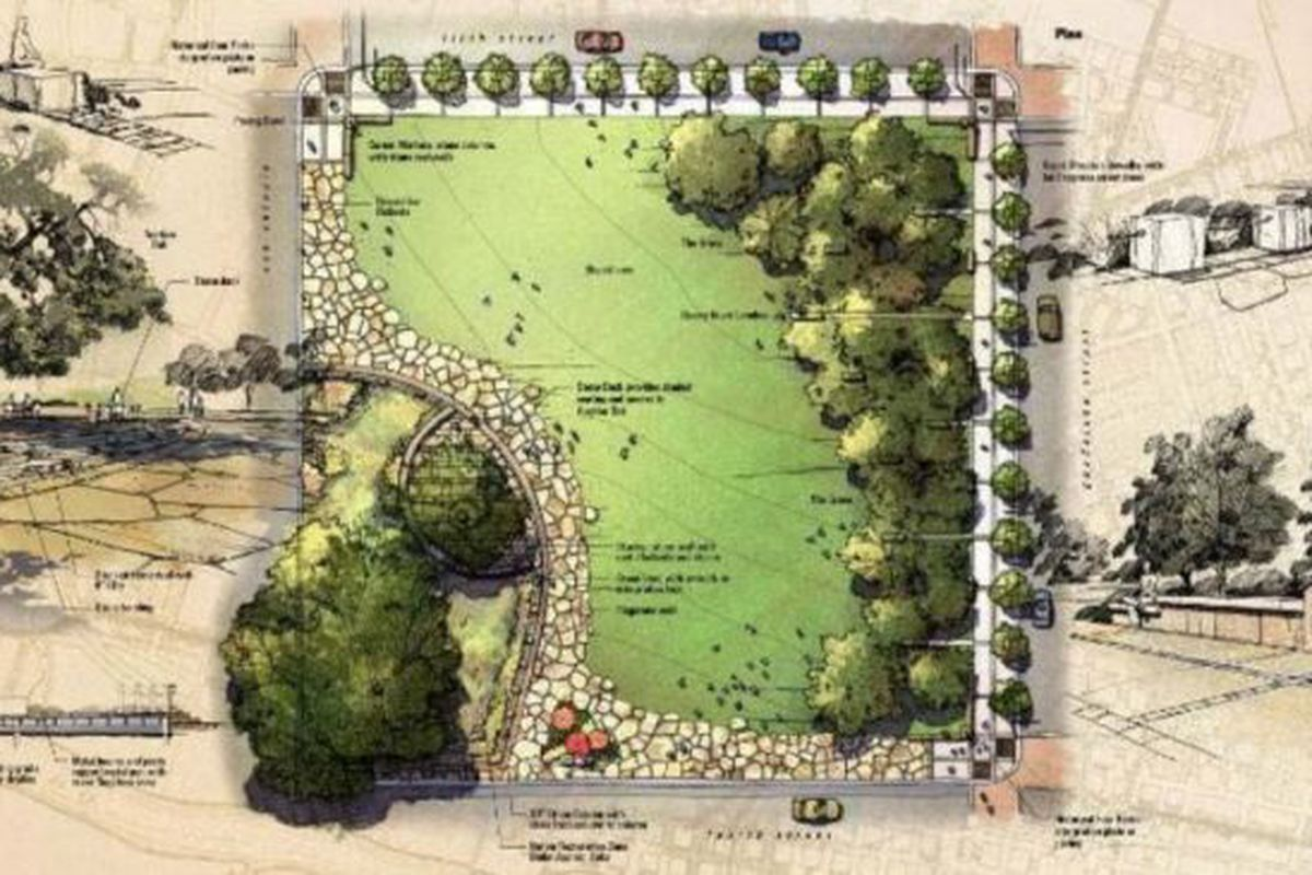 Overhead drawing of park plan