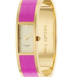"Carousel Bangle in pink, <a href=""http://www.katespade.com/carousel-bangle/1YRU0047,default,pd.html?dwvar_1YRU0047_color=650&start=3&cgid=watches"">pink</a>."