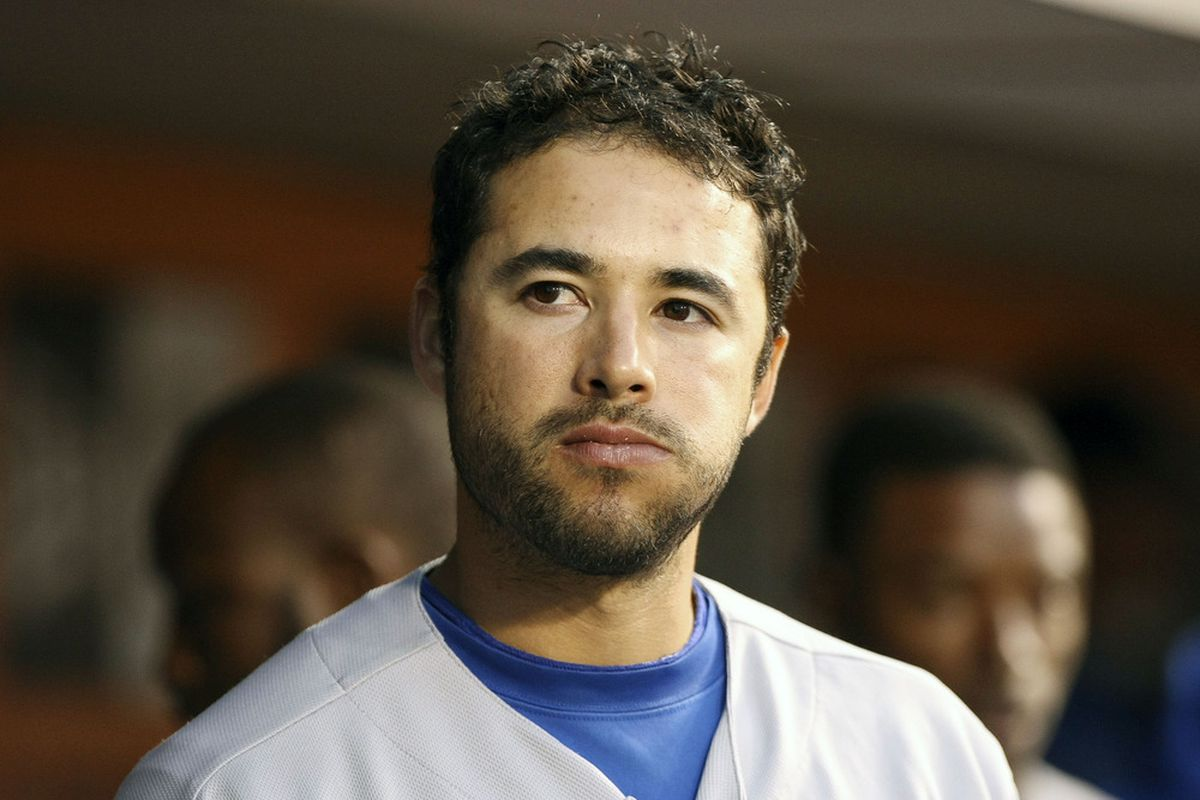June 25, 2012; San Francisco, CA, USA; Los Angeles Dodgers right fielder Andre Ethier (16) in the dug out against the San Francisco Giants during the fourth inning at AT&T Park. Mandatory Credit: Kelley L Cox-US PRESSWIRE