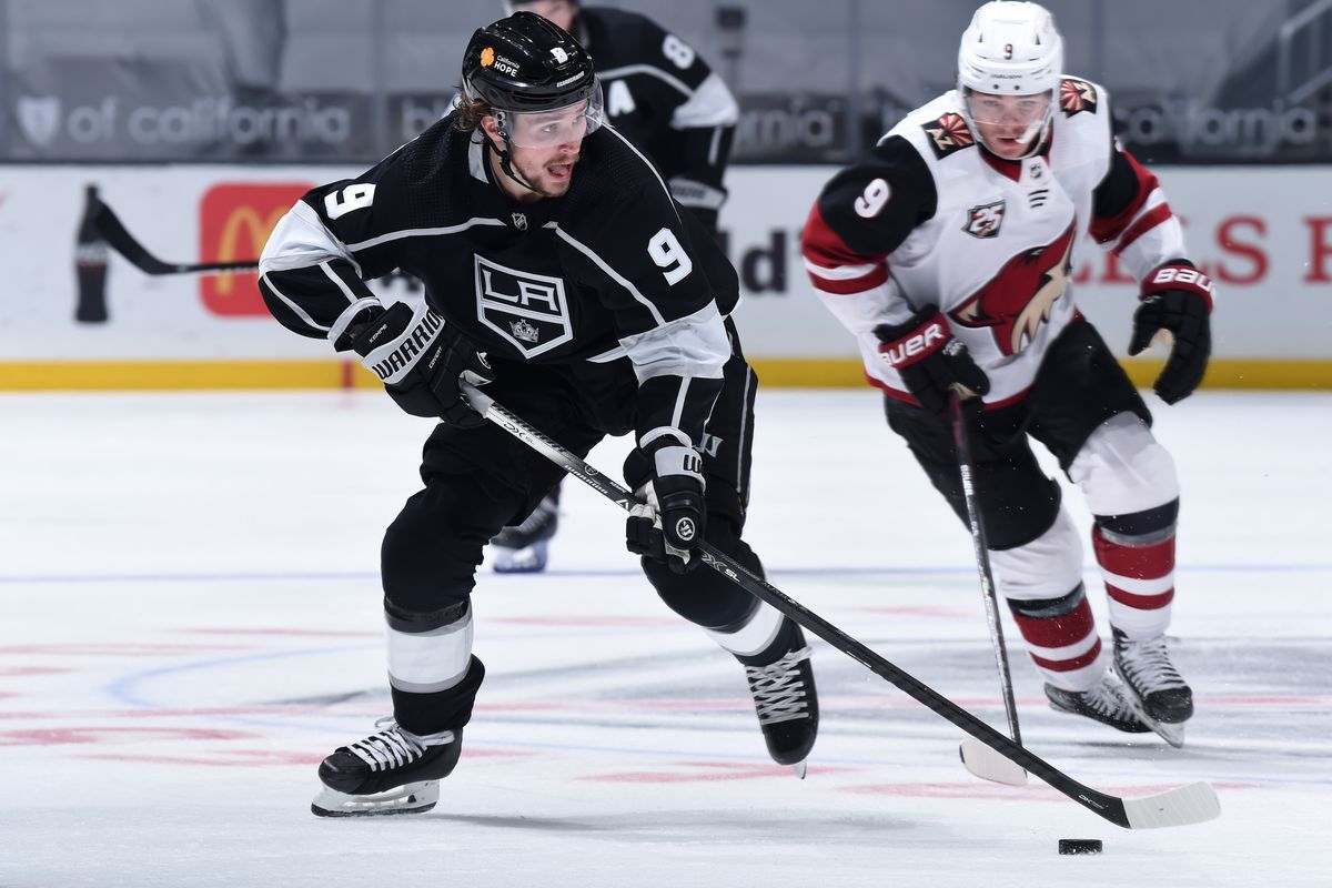 Adrian Kempe #9 of the Los Angeles Kings skates with the puck during the second period against the Arizona Coyotes at STAPLES Center on April 7, 2021 in Los Angeles, California.