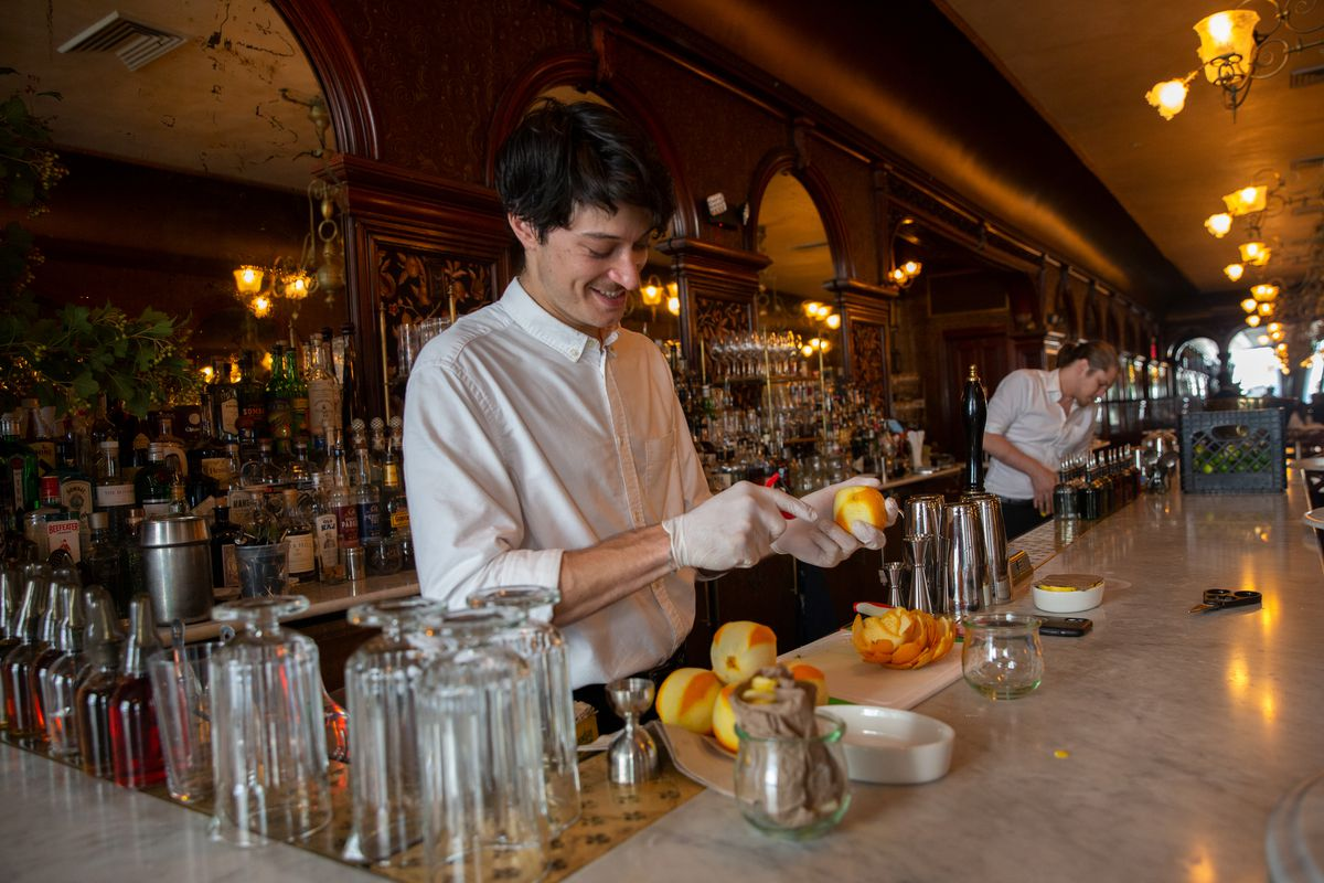 Bartender Marc du Jonchay prepares for the dinner rush at the downtown Brooklyn restaurant Gage & Tollner, July 15, 2021.