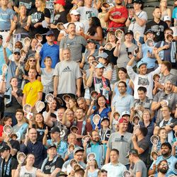 August 7, 2019 - Saint Paul, Minnesota, United States - Fans hold up cutouts of Minnesota United's new signing, Thomas Chacon, during the US Open Cup semifinal match between Minnesota United and the Portland Timbers at Allianz Field.