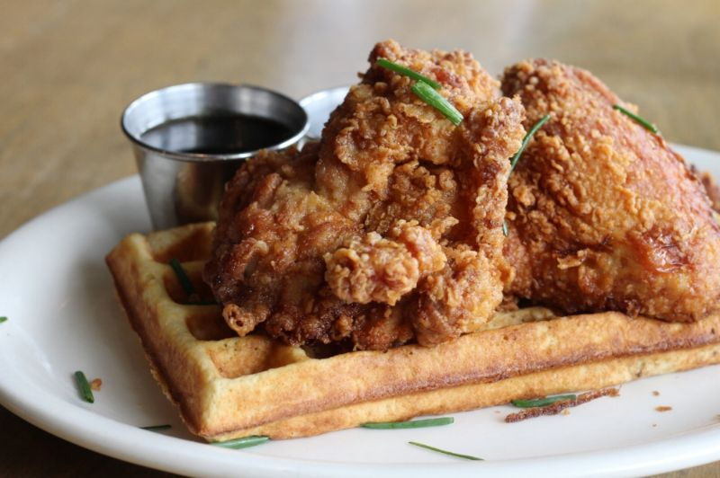 Fried chicken and waffles at Poppy + Rose.
