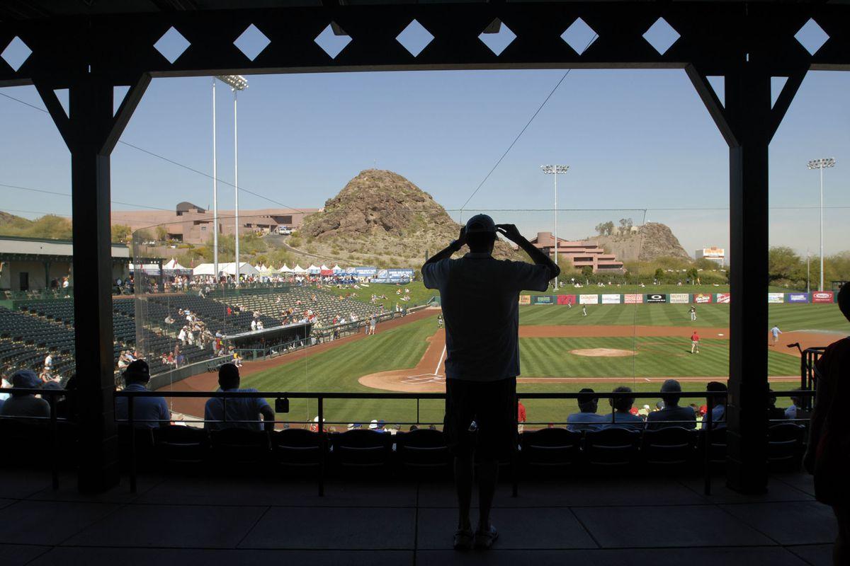 The Arizona desert provides 80-degree temperatures at Diablo Stadium where the Oakland Athletics played the Los Angeles Angels Thursday, Feb. 26, 2009, in Tempe, Ariz. (Karl Mondon/Staff)