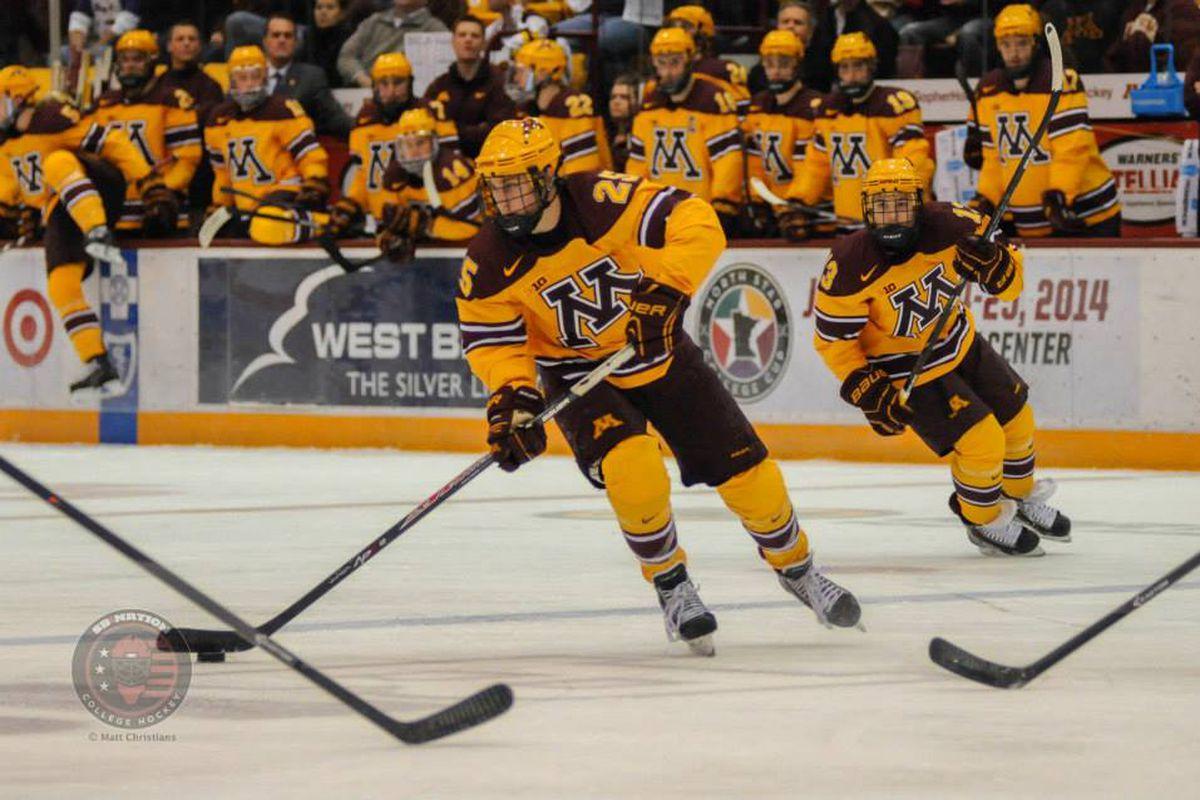 Minnesota's Justin Kloos scored three times on Saturday to help Minnesota keep their top ranking