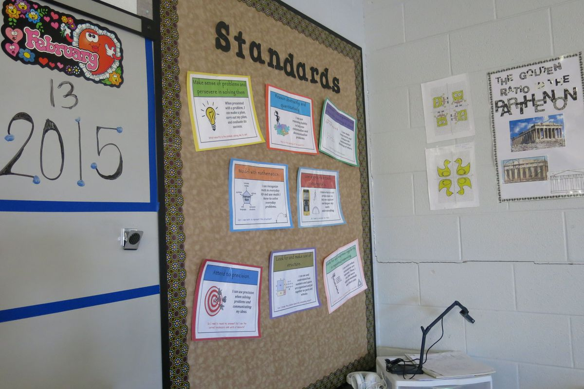 The Common Core standards for high school math adorn the walls of Christi Root's classroom at Monterey High School in Putnam County.