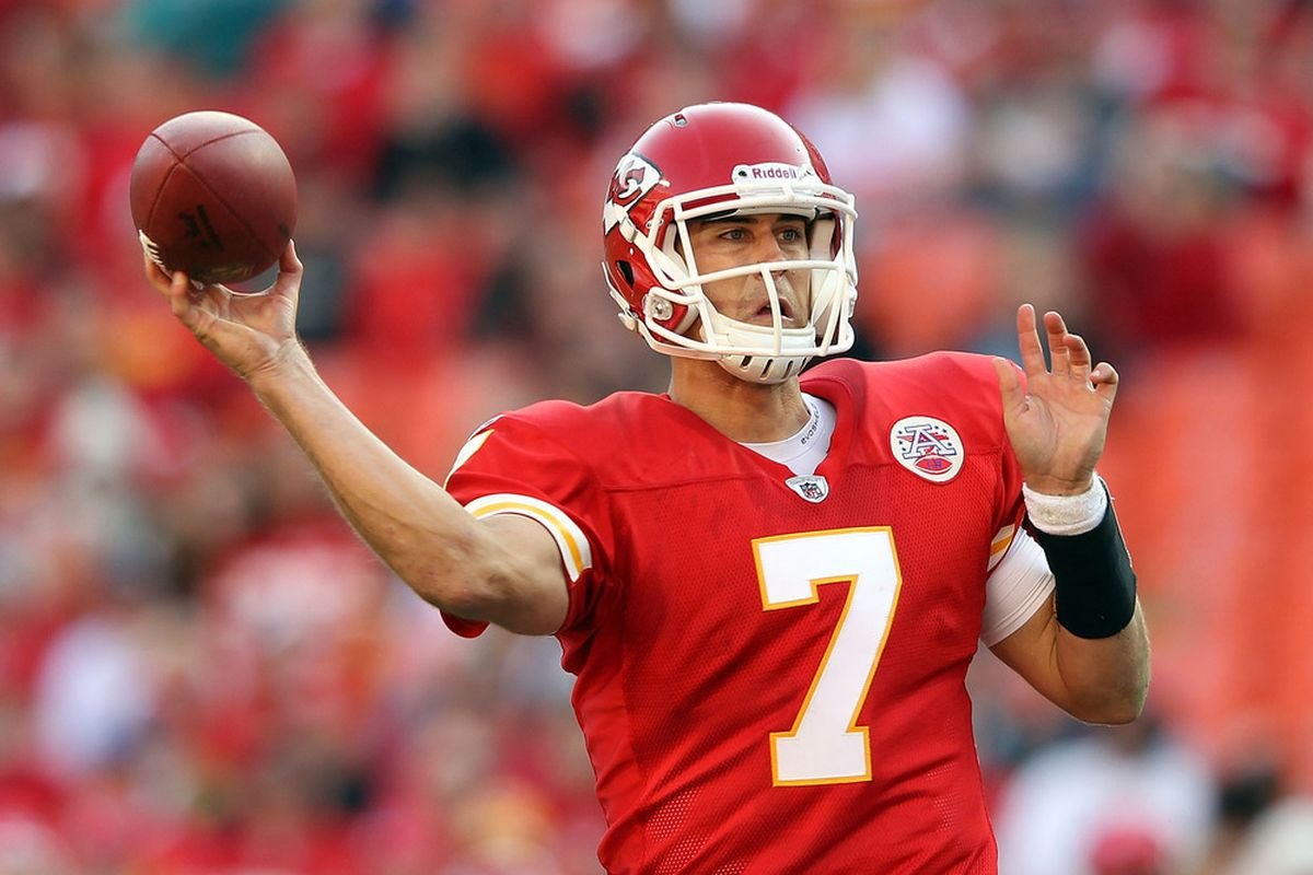 KANSAS CITY, MO - NOVEMBER 06:  Quarterback Matt Cassel #7 of the Kansas City Chiefs passes during the game against the Miami Dolphins on November 6, 2011 at Arrowhead Stadium in Kansas City, Missouri.  (Photo by Jamie Squire/Getty Images)