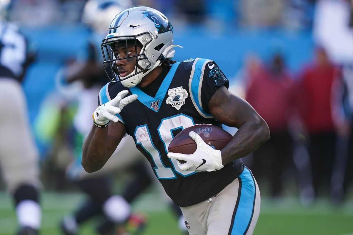 Carolina Panthers wide receiver Curtis Samuel runs for yardage against the Seattle Seahawks during the second half at Bank of America Stadium.