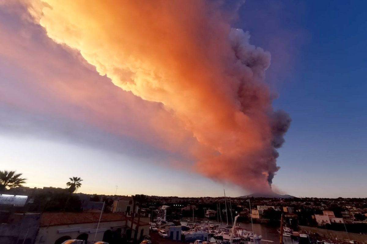 Mount Etna, Europe's most active volcano, spews ash and lava, Tuesday, Feb. 16, 2021. Mount Etna in Sicily, southern Italy, has roared back into spectacular volcanic action, sending up plumes of ash and spewing lava.