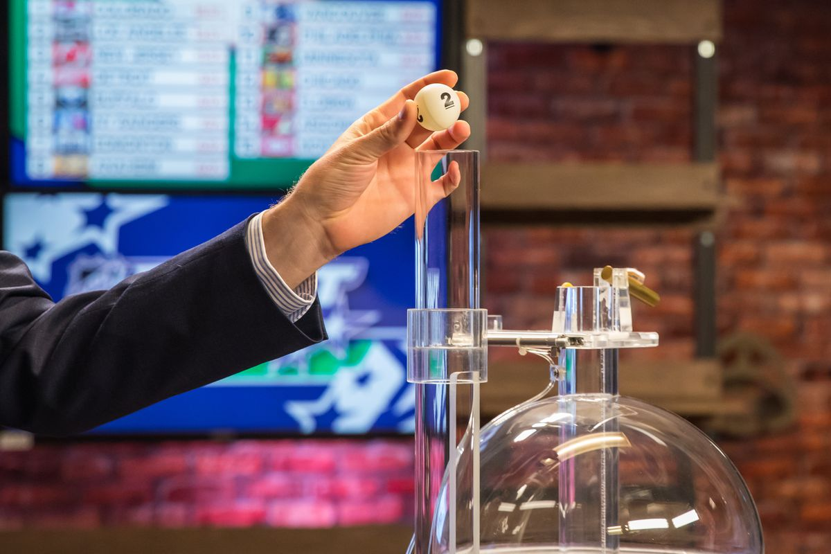 TORONTO, ON - APRIL 10: Lottery ball is placed in the machine during The National Hockey League Draft Lottery at the CBC Studios on April 10, 2019 in Toronto, Ontario, Canada.