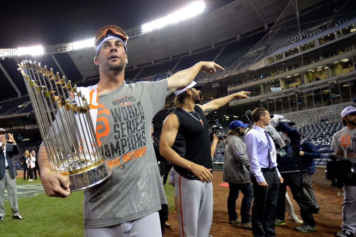 His second World Series trophy (the Giants' third)